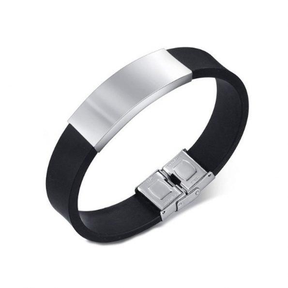 """Браслет """"Shinning"""", каучук и нержавеющая сталь, черный, широкий"""