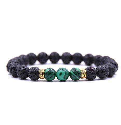"""Браслет """"Destiny"""", камень лава, с зеленой вставкой"""