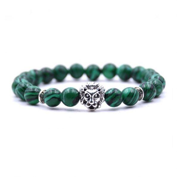 """Браслет """"Lion"""", камень малахит, зеленый"""