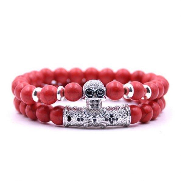 """Комплект браслетов """"Skull Fleur-de-Lys"""", камень говлит, красный"""